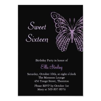 Fluttering Butterflies Sweet Sixteen on Black Card