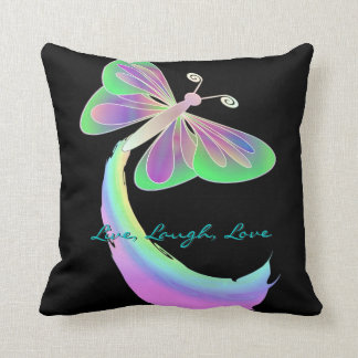 Fluttering butterfly on Black By: Mendi Throw Pillow