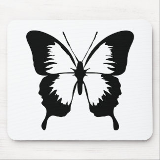 Fluttering Butterfly Silhouette Mouse Pad
