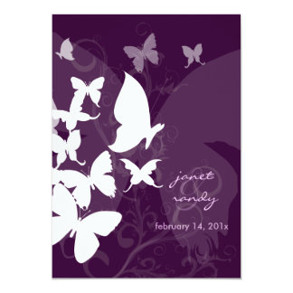 Fluttering by... butterflies white/plum 5x7 invits card