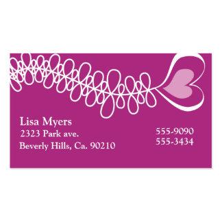 Fluttering Heart Ribbon Pink Business Cards