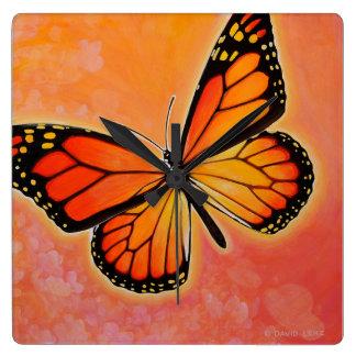 Fluttering Monarch butterfly clock