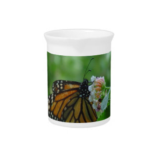 Fluttering Monarch Butterfly Porcelain Pitcher