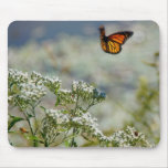 Fluttering Monarch Butterfly & Wildflowers Mouse Pad