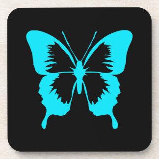 Fluttering Sky Blue Butterfly Silhouette Drink Coaster