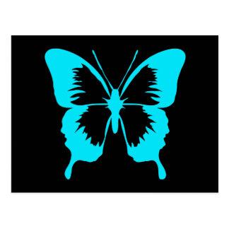 Fluttering Sky Blue Butterfly Silhouette Postcard