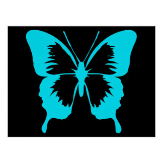 Fluttering Sky Blue Butterfly Silhouette Poster