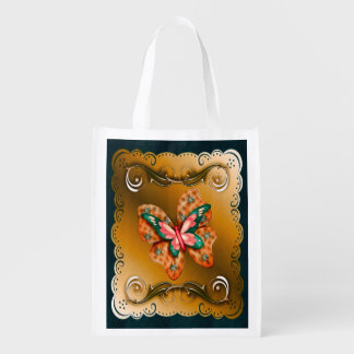 Flutterings Butterfly Bordered Reusable Grocery Bag