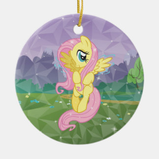 Fluttershy Double-Sided Ceramic Round Christmas Ornament