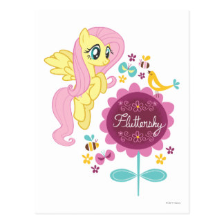 Fluttershy with Birds and Bees Postcard