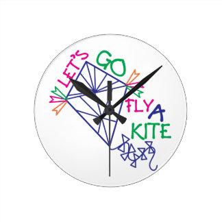 Fly A Kite Round Clock