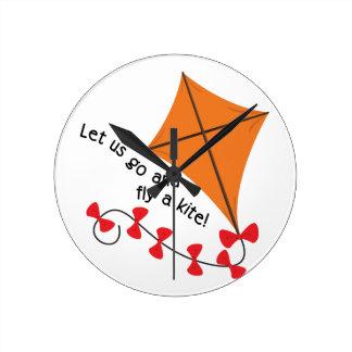 Fly a Kite Round Wall Clocks