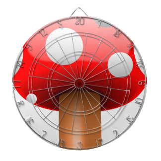 fly-agaric dartboard with darts