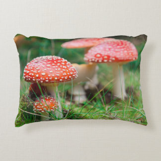 Fly-Agaric In A Forest, Closeup Photo Decorative Pillow