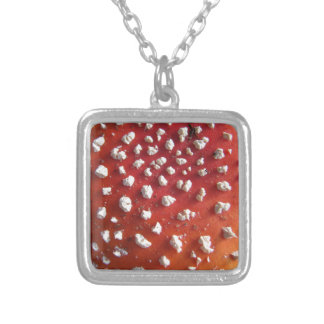 Fly Agaric Texture Photo Silver Plated Necklace