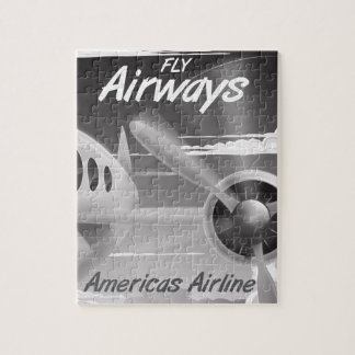 Fly Airways vintage travel poster Jigsaw Puzzle