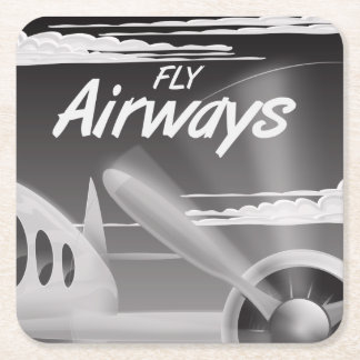 Fly Airways vintage travel poster. Square Paper Coaster