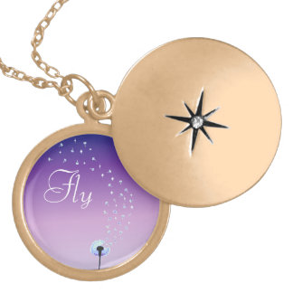 Fly and be free little dandelion seed - Purple Round Locket Necklace