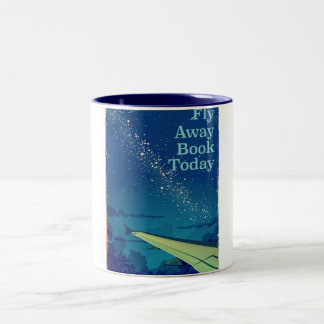 Fly Away Book Today vintage flight poster Two-Tone Coffee Mug