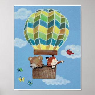 Fly Away Forest Animals - Bear and Fox Nursey Art Poster
