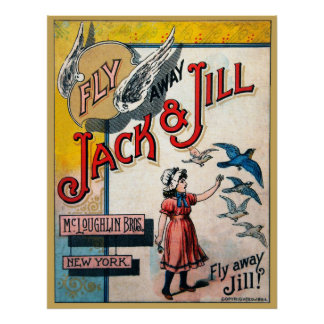 Fly Away Jack And Jill - Vintage Game Print