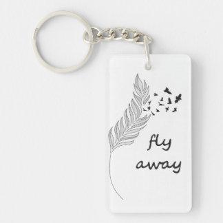 Fly Away Single-Sided Rectangular Acrylic Keychain