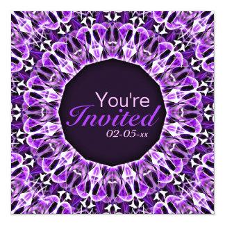 Fly Away Purple mandala 5.25x5.25 Square Paper Invitation Card