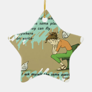 Fly Away Quote Ceramic Ornament
