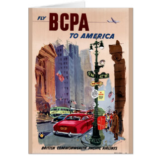 Fly BCPA to America Vintage Poster Restored Card