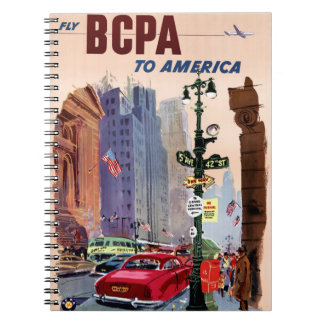 Fly BCPA to America Vintage Poster Restored Notebook
