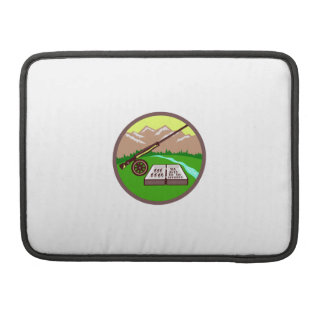 Fly Box Rod Mountains Circle Retro Sleeve For MacBook Pro