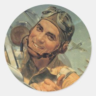 Fly Boy Pilot Stickers - Vintage War Poster