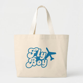FLY BOY with aeroplane jet Large Tote Bag