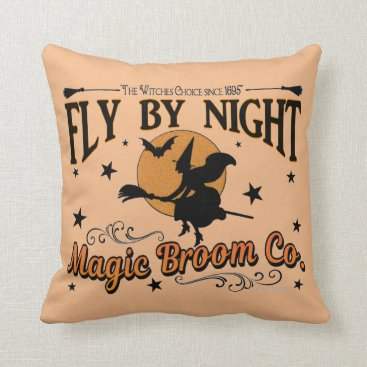 Halloween Themed Fly by Night Magic Broom Co.  With Spider Web Throw Pillow