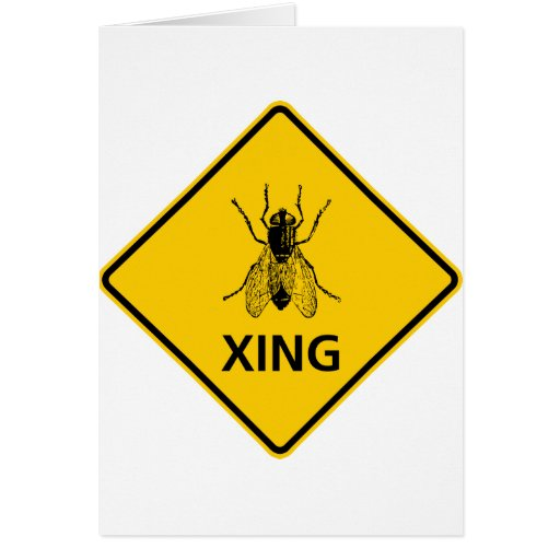 Fly Crossing Highway Sign Greeting Card