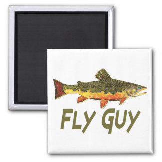 Fly Fisherman 2 Inch Square Magnet