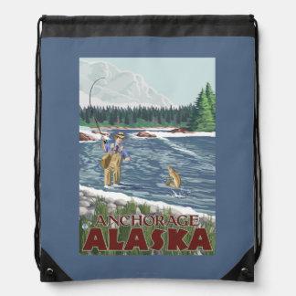 Fly Fisherman - Anchorage, Alaska Drawstring Bags