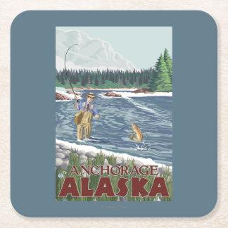 Fly Fisherman - Anchorage, Alaska Square Paper Coaster