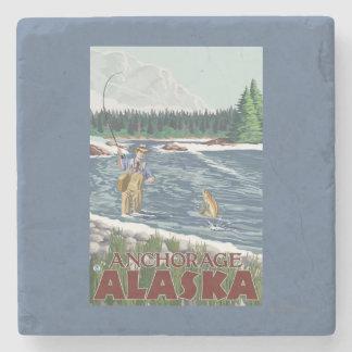Fly Fisherman - Anchorage, Alaska Stone Coaster