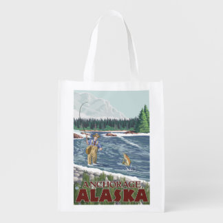 Fly Fisherman - Anchorage, Alaska Reusable Grocery Bags