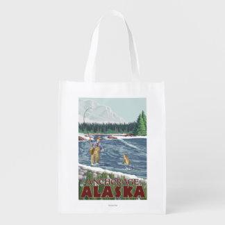 Fly Fisherman - Anchorage, Alaska Grocery Bag