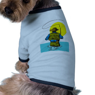 Fly fisherman casting reel with fishing lure bait dog tshirt