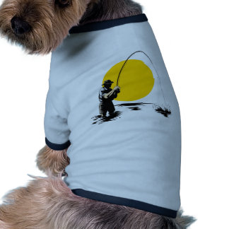 Fly fisherman casting reel with fishing lure bait doggie shirt
