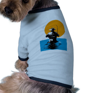 Fly fisherman casting reel with fishing lure bait doggie tshirt