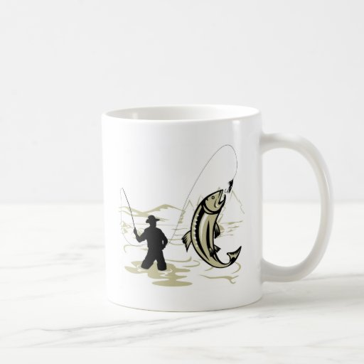 Fly fisherman casting reel with fishing lure bait classic white coffee mug