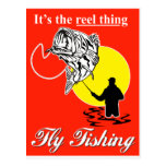 Fly fisherman catching largemouth bass fly reel postcards