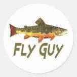 Fly Fisherman Classic Round Sticker