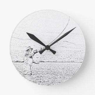 fly fisherman wall clock