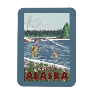 Fly Fisherman - Curry, Alaska Magnet