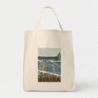 Fly Fisherman - Dawson, Alaska Tote Bags